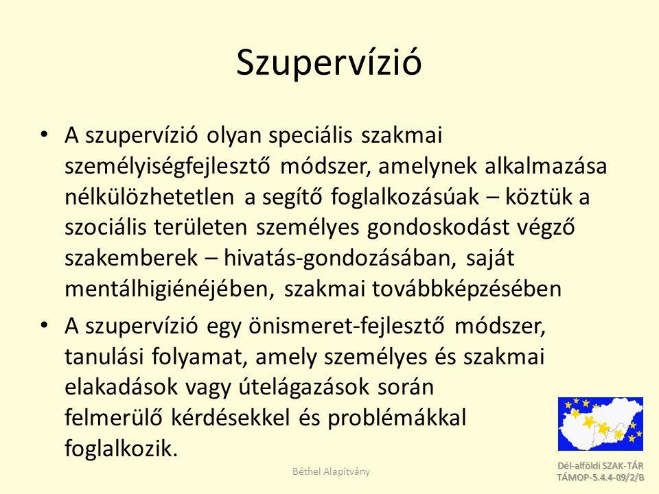Dél-alföldi SZAK-TÁR Dél-alföldi SZAK-TÁR TÁMOP-5.4.4-09/2/B TÁMOP-5.4.4-09/2/B Szupervízió A szupervízió olyan speciális szakmai személyiségfejlesztő módszer, amelynek alkalmazása nélkülözhetetlen a segítő foglalkozásúak – köztük a szociális területen személyes gondoskodást végző szakemberek – hivatás-gondozásában, saját mentálhigiénéjében, szakmai továbbképzésében A szupervízió egy önismeret-fejlesztő módszer, tanulási folyamat, amely személyes és szakmai elakadások vagy útelágazások során felmerülő kérdésekkel és problémákkal foglalkozik.
