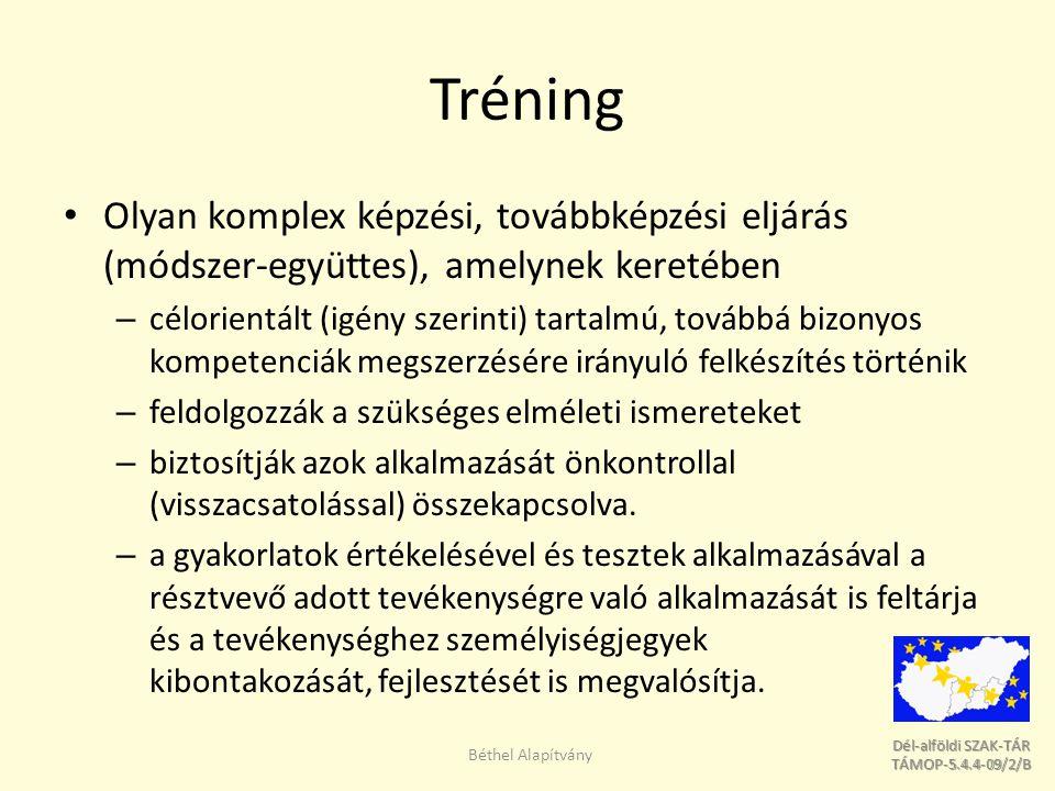Dél-alföldi SZAK-TÁR Dél-alföldi SZAK-TÁR TÁMOP-5.4.4-09/2/B TÁMOP-5.4.4-09/2/B Tréning fajták Néhány tréningfajtát emelünk ki, a teljesség igénye nélkül: Kiégés megelőző tréning Csapatépítő tréning Egyéni hatékonyság és motivációs tréning Együttműködés és kooperáció Kommunikációs tréning Konfliktuskezelő tréning Béthel Alapítvány