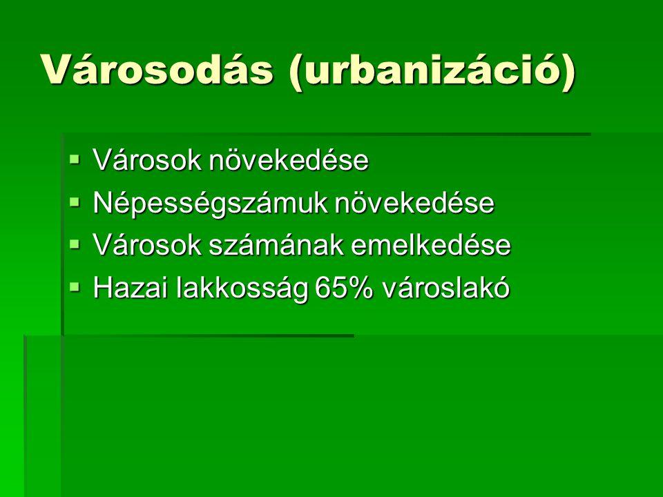 Városodás (urbanizáció)  Városok növekedése  Népességszámuk növekedése  Városok számának emelkedése  Hazai lakkosság 65% városlakó