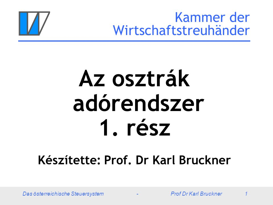 Das österreichische Steuersystem - Prof Dr Karl Bruckner 12 2005-ös adótábla Bevétel €-banJövedelemadó 10.000-ig= 0 10.000 - 25.000= (Jövedelem - 10.000) x 38,333% (Jöv.adó 25.000 €-nál = 5.750 € = 23%) 25.000 - 51.000= [(Jövedelem - 25.000) x 43,596%] + 5.750 (Jöv.adó 51.000 €-nál = 17.085 € = 33,5%) 51.000 fölött= [(Jövedelem - 51.000) x 50%] + 17.085 vagy: (jövedelem x 50%) - 8.415 €