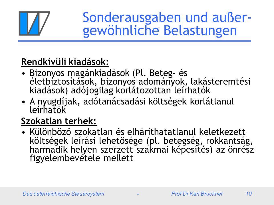 Das österreichische Steuersystem - Prof Dr Karl Bruckner 10 Sonderausgaben und außer- gewöhnliche Belastungen Rendkívüli kiadások: Bizonyos magánkiadások (Pl.