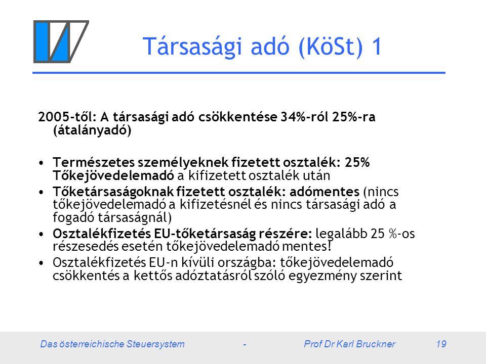 Das österreichische Steuersystem - Prof Dr Karl Bruckner 19 Társasági adó (KöSt) 1 2005-től: A társasági adó csökkentése 34%-ról 25%-ra (átalányadó) T