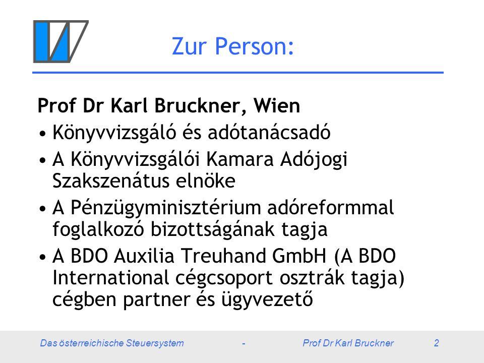 Das österreichische Steuersystem - Prof Dr Karl Bruckner 53 Egyéb adók Energiaadó: Áram, földgáz, szén – résztörlesztés az energiaintenzív vállalkozások számára (ez idő szerint: igazítás az EU-előírásokhoz) Ásványolajadó: benzinre, dízelolajra, motorolajra, stb.