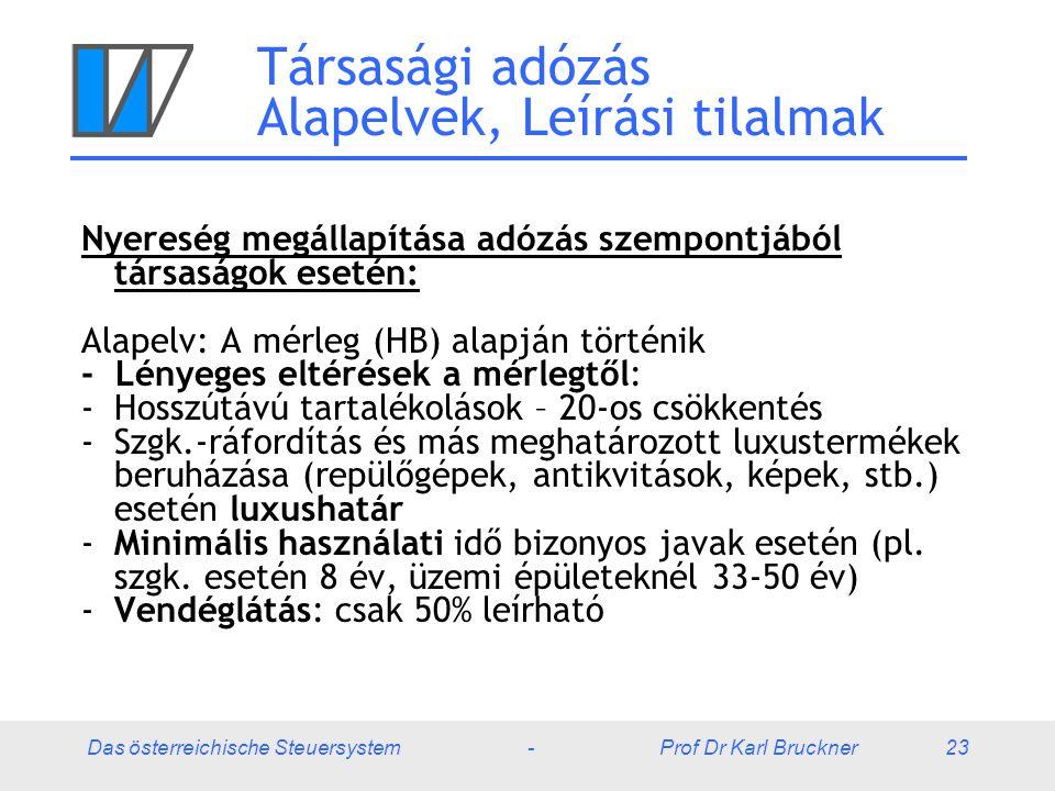 Das österreichische Steuersystem - Prof Dr Karl Bruckner 23 Társasági adózás Alapelvek, Leírási tilalmak Nyereség megállapítása adózás szempontjából társaságok esetén: Alapelv: A mérleg (HB) alapján történik - Lényeges eltérések a mérlegtől: -Hosszútávú tartalékolások – 20-os csökkentés -Szgk.-ráfordítás és más meghatározott luxustermékek beruházása (repülőgépek, antikvitások, képek, stb.) esetén luxushatár -Minimális használati idő bizonyos javak esetén (pl.
