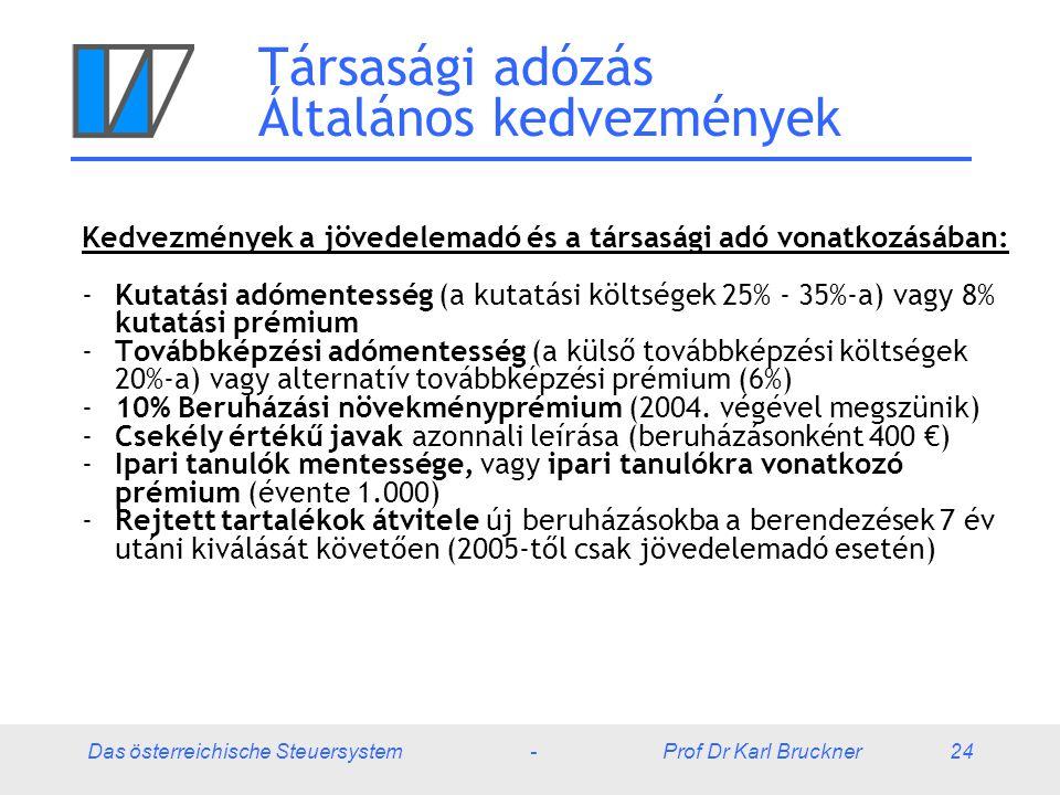 Das österreichische Steuersystem - Prof Dr Karl Bruckner 24 Társasági adózás Általános kedvezmények Kedvezmények a jövedelemadó és a társasági adó von
