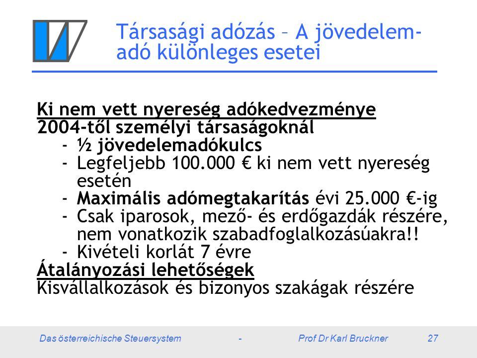 Das österreichische Steuersystem - Prof Dr Karl Bruckner 27 Társasági adózás – A jövedelem- adó különleges esetei Ki nem vett nyereség adókedvezménye