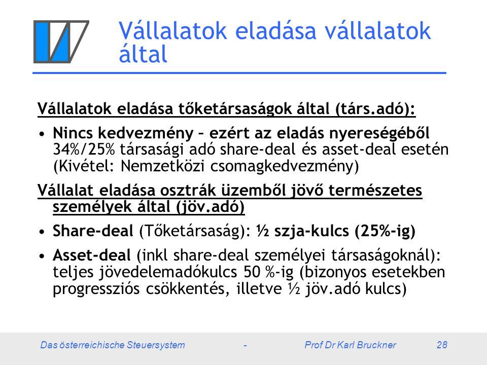 Das österreichische Steuersystem - Prof Dr Karl Bruckner 28 Vállalatok eladása vállalatok által Vállalatok eladása tőketársaságok által (társ.adó): Ni