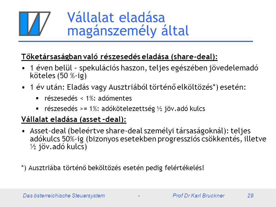 Das österreichische Steuersystem - Prof Dr Karl Bruckner 29 Vállalat eladása magánszemély által Tőketársaságban való részesedés eladása (share-deal): 1 éven belül – spekulációs haszon, teljes egészében jövedelemadó köteles (50 %-ig) 1 év után: Eladás vagy Ausztriából történő elköltözés*) esetén:  részesedés < 1%: adómentes  részesedés >= 1%: adókötelezettség ½ jöv.adó kulcs Vállalat eladása (asset –deal): Asset-deal (beleértve share-deal személyi társaságoknál): teljes adókulcs 50%-ig (bizonyos esetekben progressziós csökkentés, illetve ½ jöv.adó kulcs) *) Ausztriába történő beköltözés esetén pedig felértékelés!