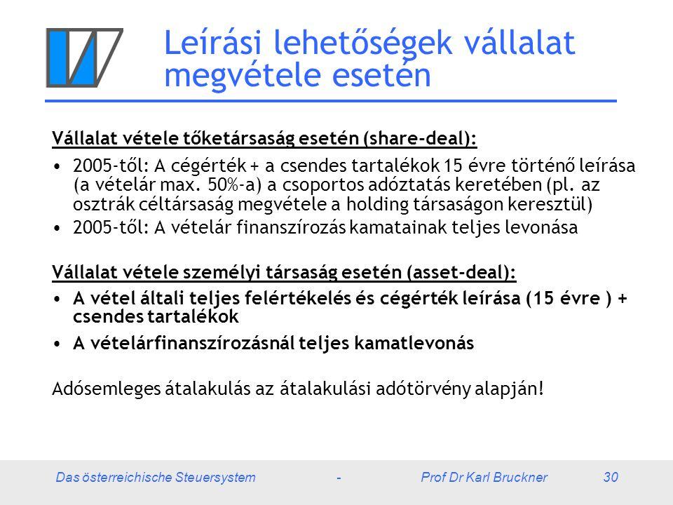Das österreichische Steuersystem - Prof Dr Karl Bruckner 30 Leírási lehetőségek vállalat megvétele esetén Vállalat vétele tőketársaság esetén (share-d