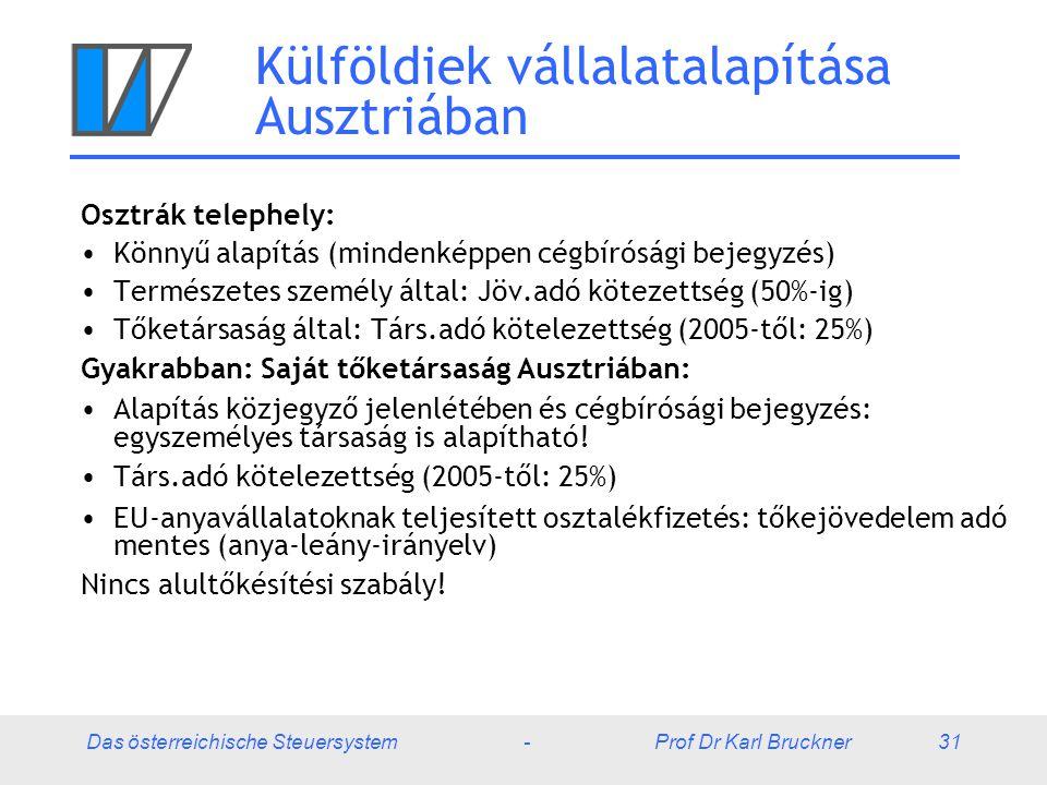 Das österreichische Steuersystem - Prof Dr Karl Bruckner 31 Külföldiek vállalatalapítása Ausztriában Osztrák telephely: Könnyű alapítás (mindenképpen cégbírósági bejegyzés) Természetes személy által: Jöv.adó kötezettség (50%-ig) Tőketársaság által: Társ.adó kötelezettség (2005-től: 25%) Gyakrabban: Saját tőketársaság Ausztriában: Alapítás közjegyző jelenlétében és cégbírósági bejegyzés: egyszemélyes társaság is alapítható.