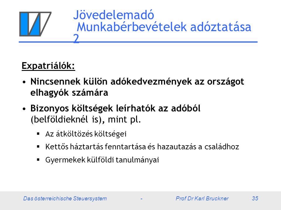 Das österreichische Steuersystem - Prof Dr Karl Bruckner 35 Jövedelemadó Munkabérbevételek adóztatása 2 Expatriálók: Nincsennek külön adókedvezmények