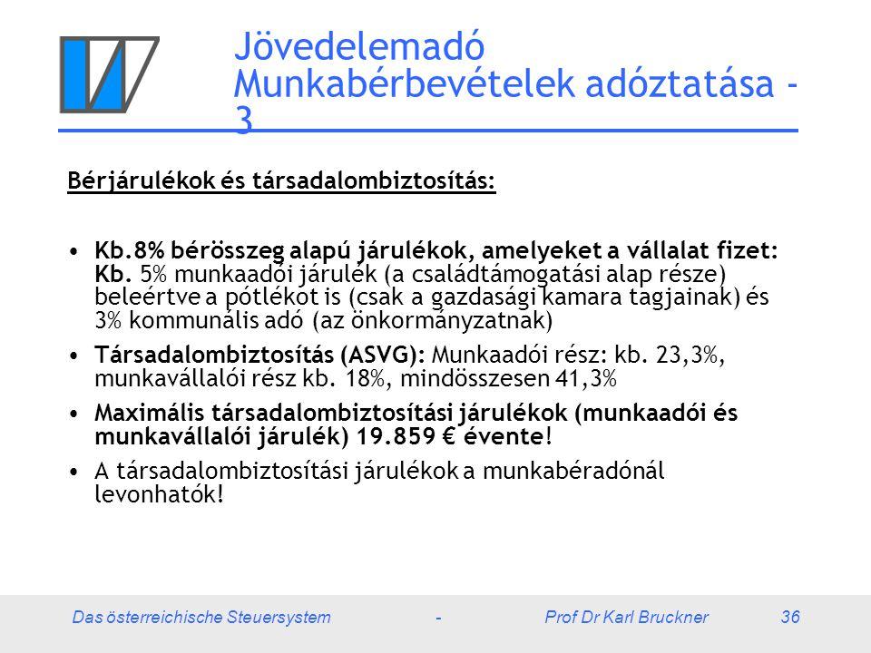 Das österreichische Steuersystem - Prof Dr Karl Bruckner 36 Jövedelemadó Munkabérbevételek adóztatása - 3 Bérjárulékok és társadalombiztosítás: Kb.8%