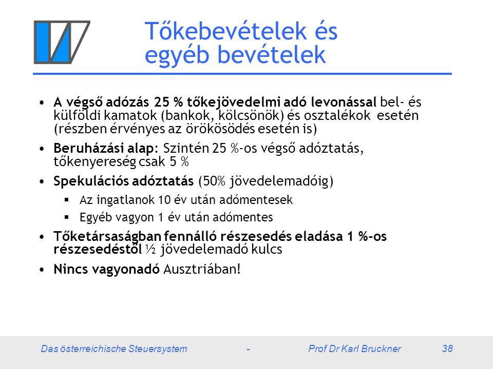 Das österreichische Steuersystem - Prof Dr Karl Bruckner 38 Tőkebevételek és egyéb bevételek A végső adózás 25 % tőkejövedelmi adó levonással bel- és
