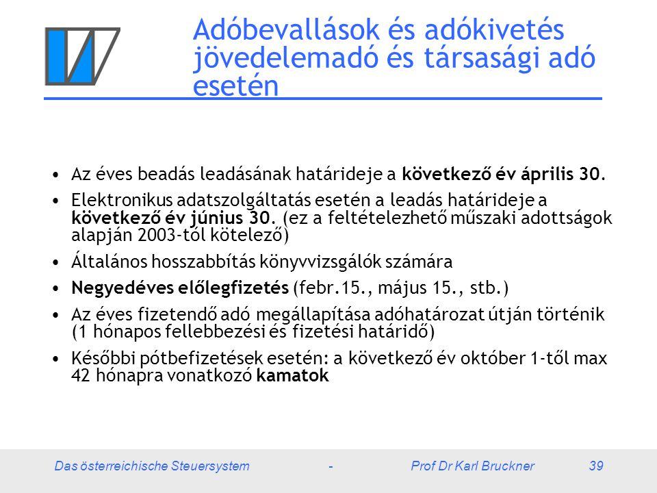 Das österreichische Steuersystem - Prof Dr Karl Bruckner 39 Adóbevallások és adókivetés jövedelemadó és társasági adó esetén Az éves beadás leadásának határideje a következő év április 30.