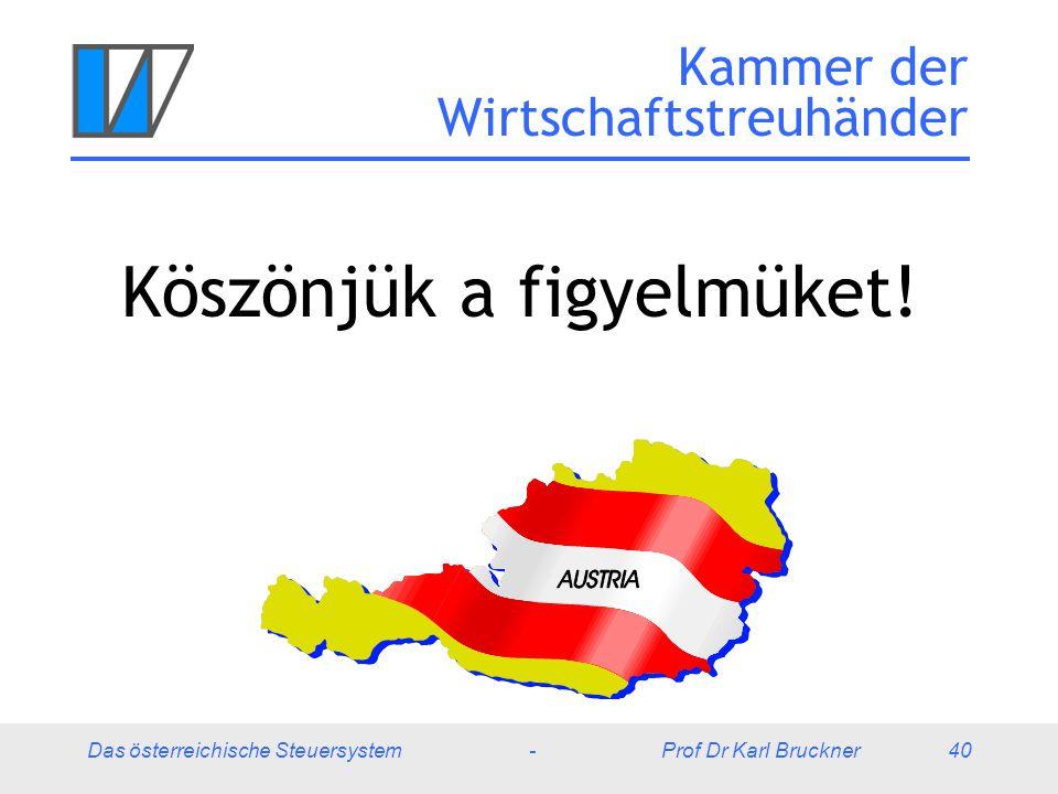 Das österreichische Steuersystem - Prof Dr Karl Bruckner 40 Kammer der Wirtschaftstreuhänder Köszönjük a figyelmüket!
