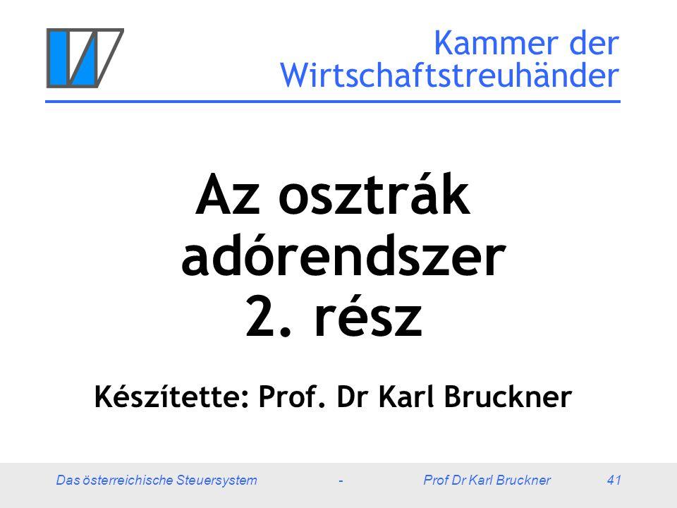 Das österreichische Steuersystem - Prof Dr Karl Bruckner 41 Kammer der Wirtschaftstreuhänder Az osztrák adórendszer 2. rész Készítette: Prof. Dr Karl
