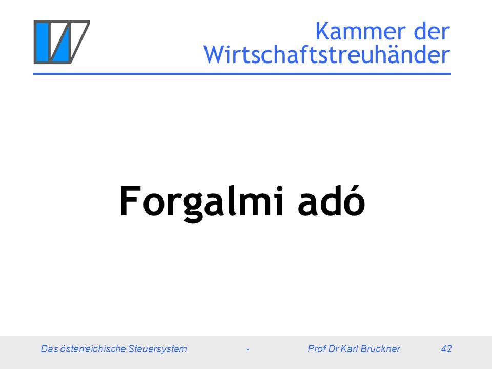 Das österreichische Steuersystem - Prof Dr Karl Bruckner 42 Kammer der Wirtschaftstreuhänder Forgalmi adó
