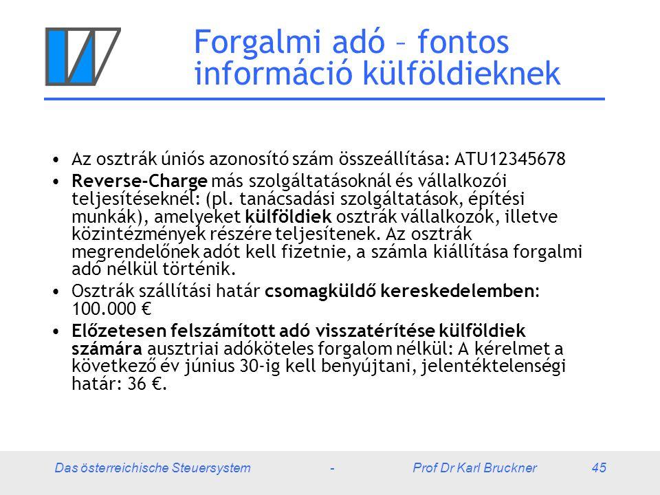 Das österreichische Steuersystem - Prof Dr Karl Bruckner 45 Forgalmi adó – fontos információ külföldieknek Az osztrák úniós azonosító szám összeállítá