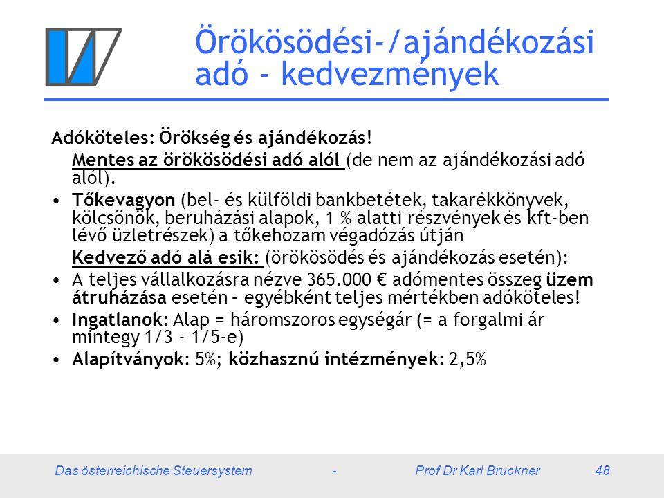 Das österreichische Steuersystem - Prof Dr Karl Bruckner 48 Örökösödési-/ajándékozási adó - kedvezmények Adóköteles: Örökség és ajándékozás! Mentes az