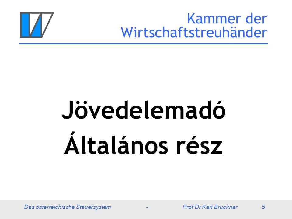 Das österreichische Steuersystem - Prof Dr Karl Bruckner 16 Jövedelemadó – Éves adóhatár 20042005 Munkavállaló bruttójövedelem beleértve a 13./14.