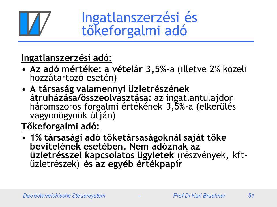Das österreichische Steuersystem - Prof Dr Karl Bruckner 51 Ingatlanszerzési és tőkeforgalmi adó Ingatlanszerzési adó: Az adó mértéke: a vételár 3,5%-a (illetve 2% közeli hozzátartozó esetén) A társaság valamennyi üzletrészének átruházása/összeolvasztása: az ingatlantulajdon háromszoros forgalmi értékének 3,5%-a (elkerülés vagyonügynök útján) Tőkeforgalmi adó: 1% társasági adó tőketársaságoknál saját tőke bevitelének esetében.