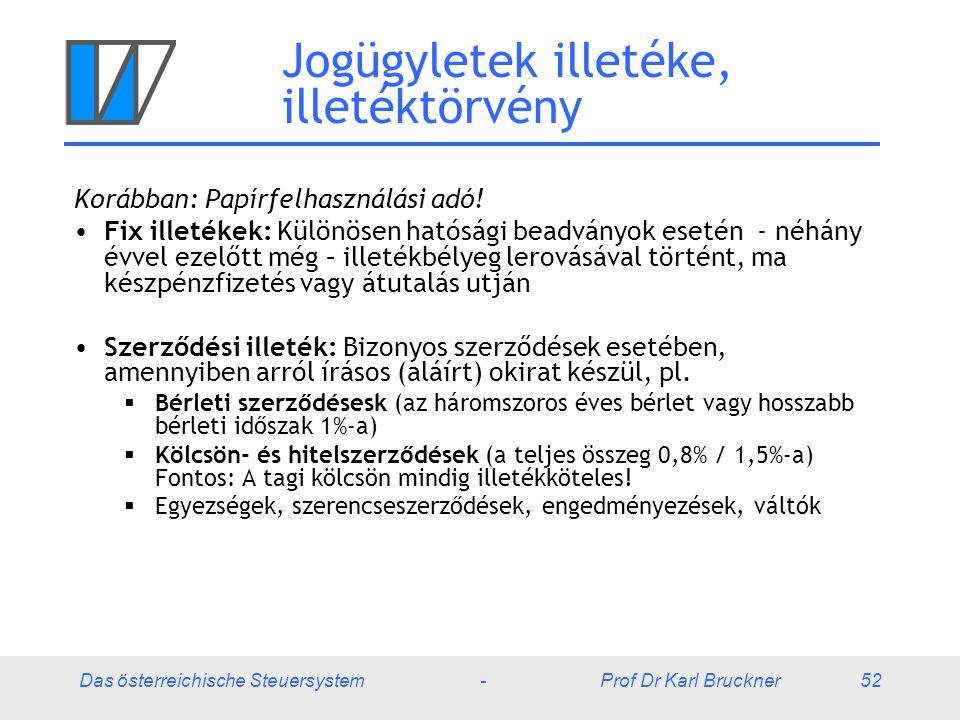 Das österreichische Steuersystem - Prof Dr Karl Bruckner 52 Jogügyletek illetéke, illetéktörvény Korábban: Papírfelhasználási adó! Fix illetékek: Külö