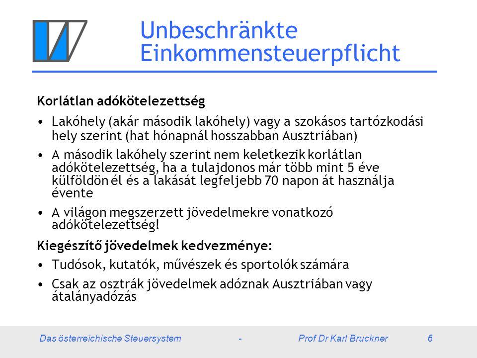 Das österreichische Steuersystem - Prof Dr Karl Bruckner 6 Unbeschränkte Einkommensteuerpflicht Korlátlan adókötelezettség Lakóhely (akár második lakóhely) vagy a szokásos tartózkodási hely szerint (hat hónapnál hosszabban Ausztriában) A második lakóhely szerint nem keletkezik korlátlan adókötelezettség, ha a tulajdonos már több mint 5 éve külföldön él és a lakását legfeljebb 70 napon át használja évente A világon megszerzett jövedelmekre vonatkozó adókötelezettség.