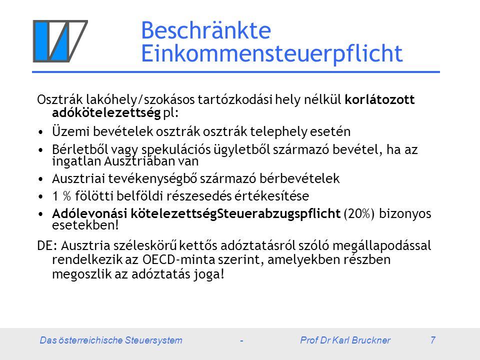 Das österreichische Steuersystem - Prof Dr Karl Bruckner 38 Tőkebevételek és egyéb bevételek A végső adózás 25 % tőkejövedelmi adó levonással bel- és külföldi kamatok (bankok, kölcsönök) és osztalékok esetén (részben érvényes az örökösödés esetén is) Beruházási alap: Szintén 25 %-os végső adóztatás, tőkenyereség csak 5 % Spekulációs adóztatás (50% jövedelemadóig)  Az ingatlanok 10 év után adómentesek  Egyéb vagyon 1 év után adómentes Tőketársaságban fennálló részesedés eladása 1 %-os részesedéstől ½ jövedelemadó kulcs Nincs vagyonadó Ausztriában!
