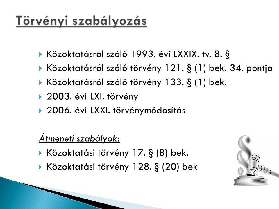  Közoktatásról szóló 1993.évi LXXIX. tv. 8. §  Közoktatásról szóló törvény 121.