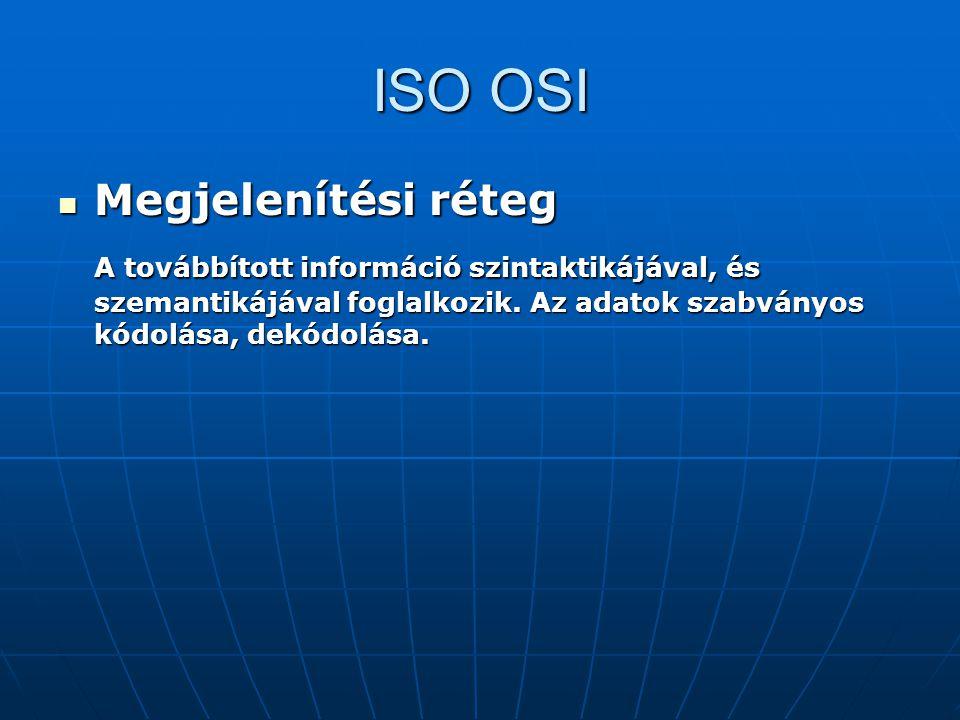 ISO OSI Megjelenítési réteg Megjelenítési réteg A továbbított információ szintaktikájával, és szemantikájával foglalkozik. Az adatok szabványos kódolá