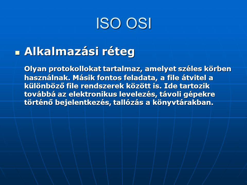 ISO OSI Alkalmazási réteg Alkalmazási réteg Olyan protokollokat tartalmaz, amelyet széles körben használnak. Másik fontos feladata, a file átvitel a k