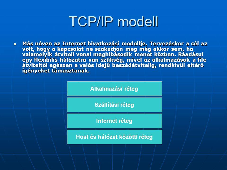 TCP/IP modell Más néven az Internet hivatkozási modellje. Tervezéskor a cél az volt, hogy a kapcsolat ne szakadjon meg még akkor sem, ha valamelyik át