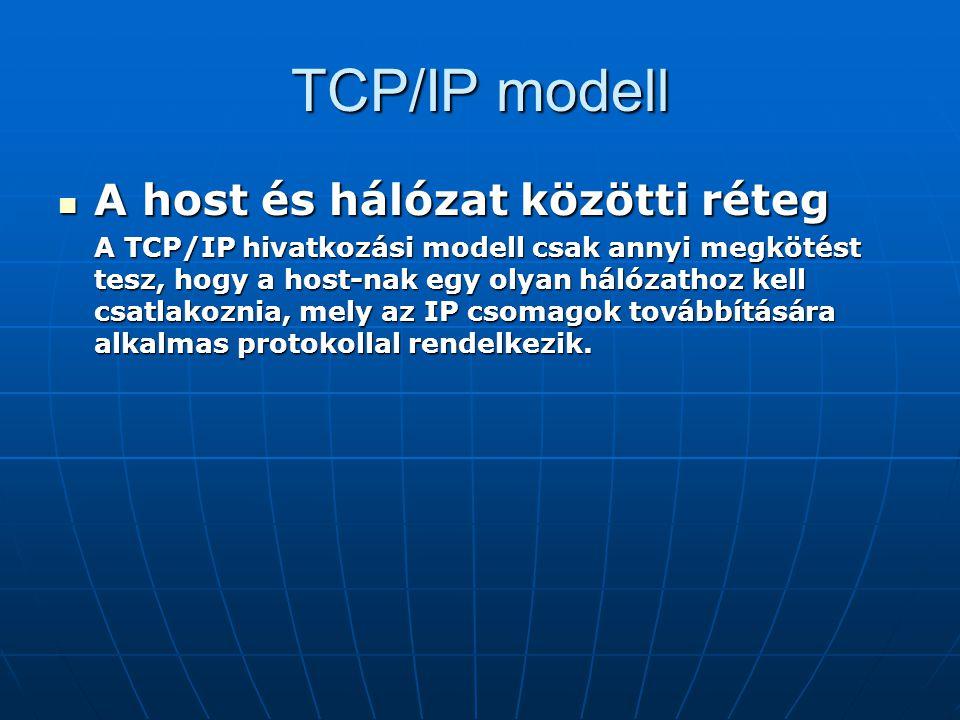 TCP/IP modell A host és hálózat közötti réteg A host és hálózat közötti réteg A TCP/IP hivatkozási modell csak annyi megkötést tesz, hogy a host-nak e