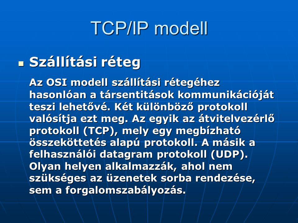 TCP/IP modell Szállítási réteg Szállítási réteg Az OSI modell szállítási rétegéhez hasonlóan a társentitások kommunikációját teszi lehetővé. Két külön