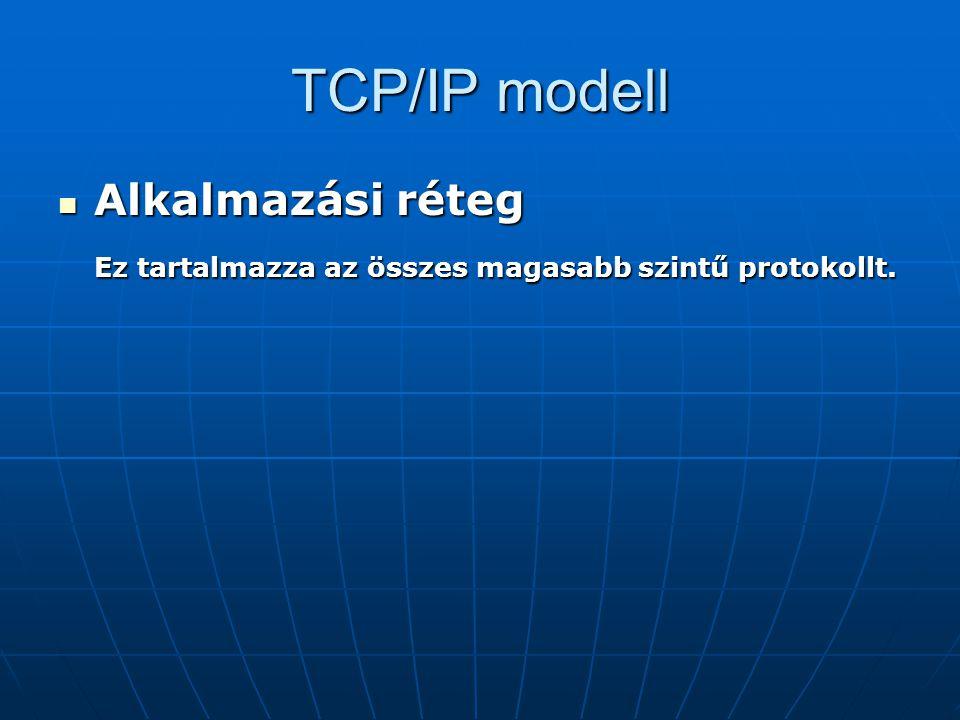 TCP/IP modell Alkalmazási réteg Alkalmazási réteg Ez tartalmazza az összes magasabb szintű protokollt.
