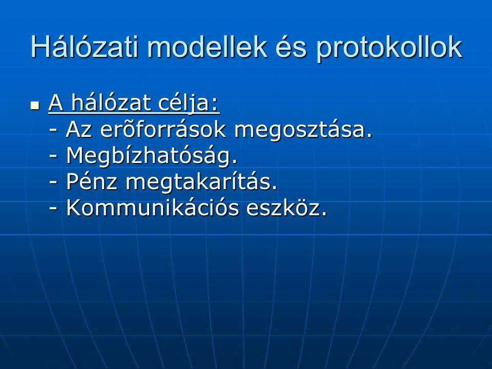 Hálózati modellek és protokollok A hálózat célja: - Az erõforrások megosztása. - Megbízhatóság. - Pénz megtakarítás. - Kommunikációs eszköz. A hálózat