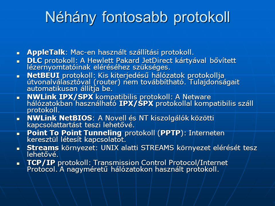 Néhány fontosabb protokoll AppleTalk: Mac-en használt szállítási protokoll. AppleTalk: Mac-en használt szállítási protokoll. DLC protokoll: A Hewlett