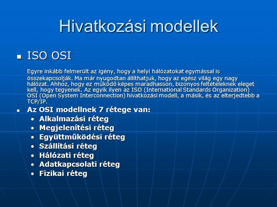Hivatkozási modellek ISO OSI ISO OSI Egyre inkább felmerült az igény, hogy a helyi hálózatokat egymással is összekapcsolják. Ma már nyugodtan állíthat