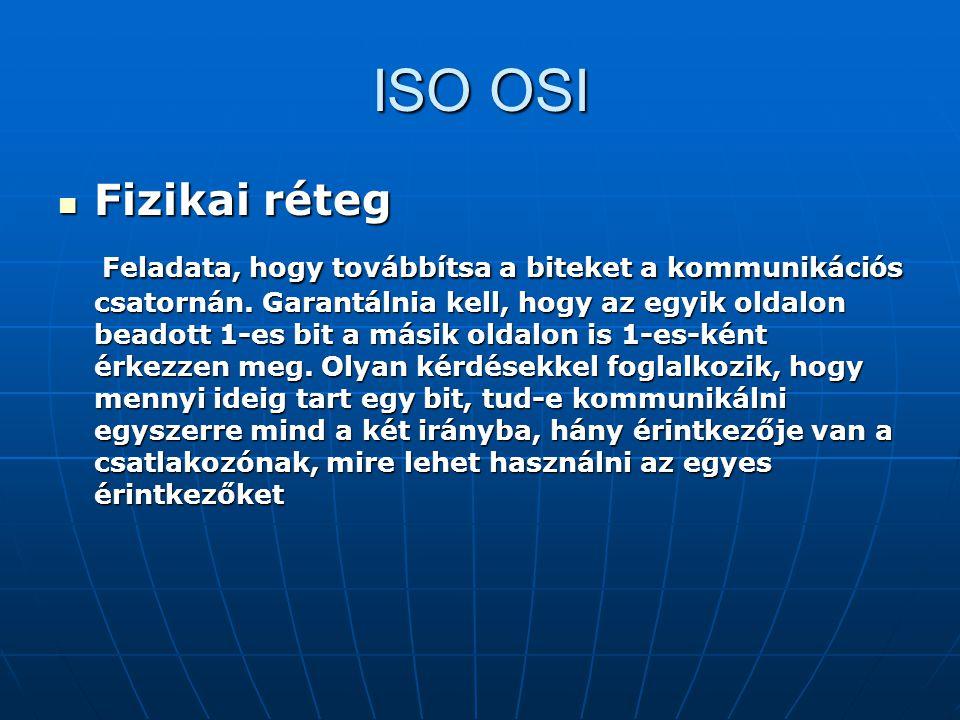 ISO OSI Fizikai réteg Fizikai réteg Feladata, hogy továbbítsa a biteket a kommunikációs csatornán. Garantálnia kell, hogy az egyik oldalon beadott 1-e