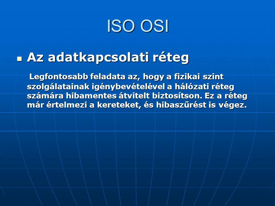 ISO OSI Az adatkapcsolati réteg Az adatkapcsolati réteg Legfontosabb feladata az, hogy a fizikai szint szolgálatainak igénybevételével a hálózati réte