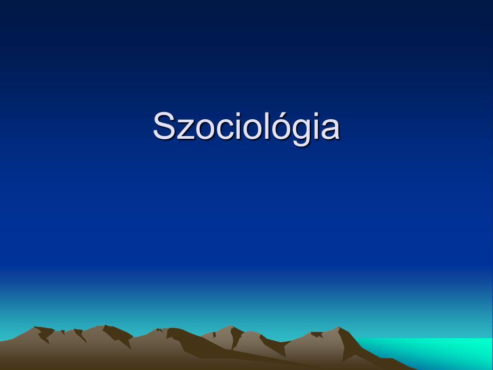 Szociológia és társadalom Szociológia:  a társadalom törvényszerűségeit vizsgáló tudomány, mely segíti a társadalom tagjait társadalmi környezetük megértésében Társadalom:  különböző közvetítő formák (család, iskola, munkahelyi közösség) révén megvalósuló, egyének közti kapcsolat és viszonyrendszer  az egyének társadalmi elvárásokat, hatásokat, igényeket közvetítő közösségek által tagolódnak be a társadalomba  egyén és a társadalom viszonya: oda-vissza ható kölcsönös kapcsolat Társadalom- típusok: tradicionális (premodern)  vadászó, gyűjtögető, agrár modern  gazdasági alapja: ipari termelés, szolgáltatói tevékenységek,  mezőgazdasági tevékenységen kevesebb hangsúly  városias  egyének között jelentős társadalmi különbségek