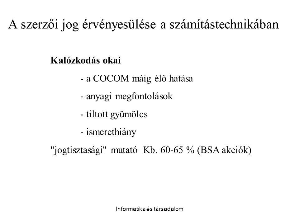 Informatika és társadalom Kalózkodás okai - a COCOM máig élő hatása - anyagi megfontolások - tiltott gyümölcs - ismerethiány jogtisztasági mutató Kb.