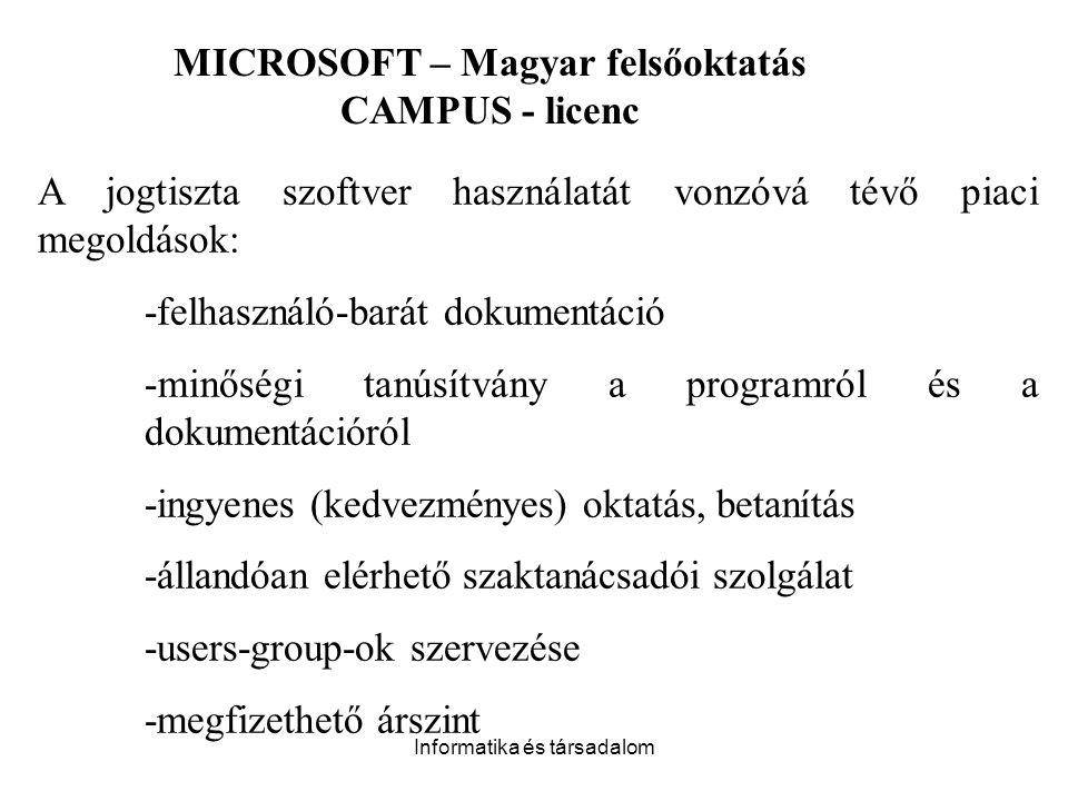 Informatika és társadalom A jogtiszta szoftver használatát vonzóvá tévő piaci megoldások: -felhasználó-barát dokumentáció -minőségi tanúsítvány a programról és a dokumentációról -ingyenes (kedvezményes) oktatás, betanítás -állandóan elérhető szaktanácsadói szolgálat -users-group-ok szervezése -megfizethető árszint MICROSOFT – Magyar felsőoktatás CAMPUS - licenc