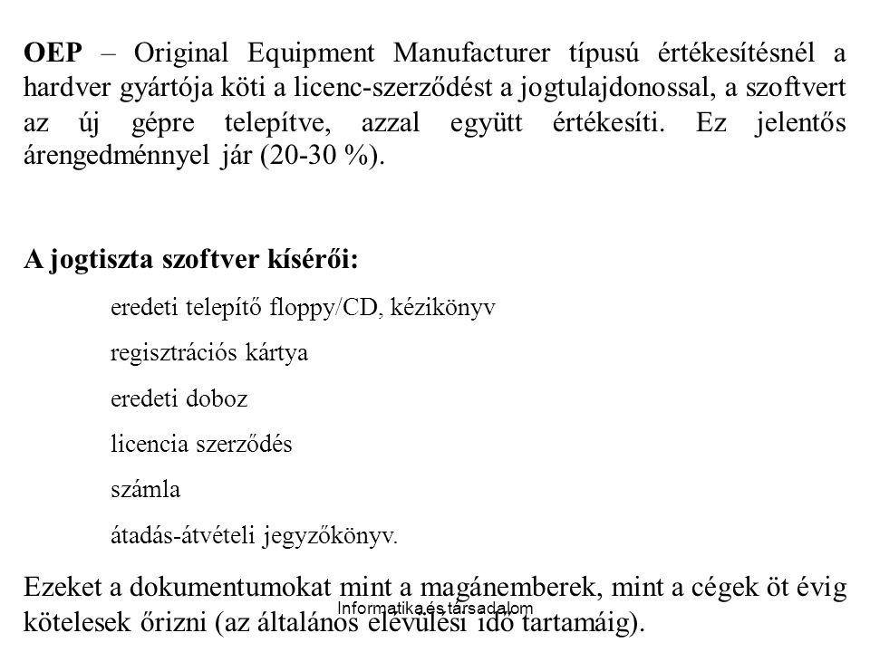 Informatika és társadalom OEP – Original Equipment Manufacturer típusú értékesítésnél a hardver gyártója köti a licenc-szerződést a jogtulajdonossal,