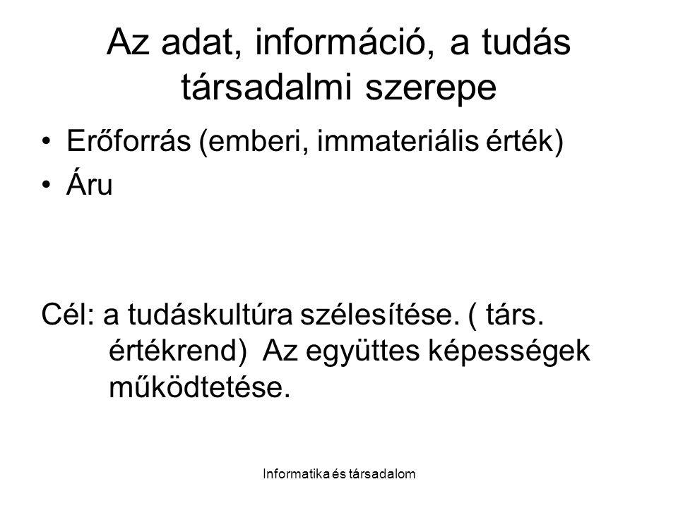 Informatika és társadalom Az adat, információ, a tudás társadalmi szerepe Erőforrás (emberi, immateriális érték) Áru Cél: a tudáskultúra szélesítése.