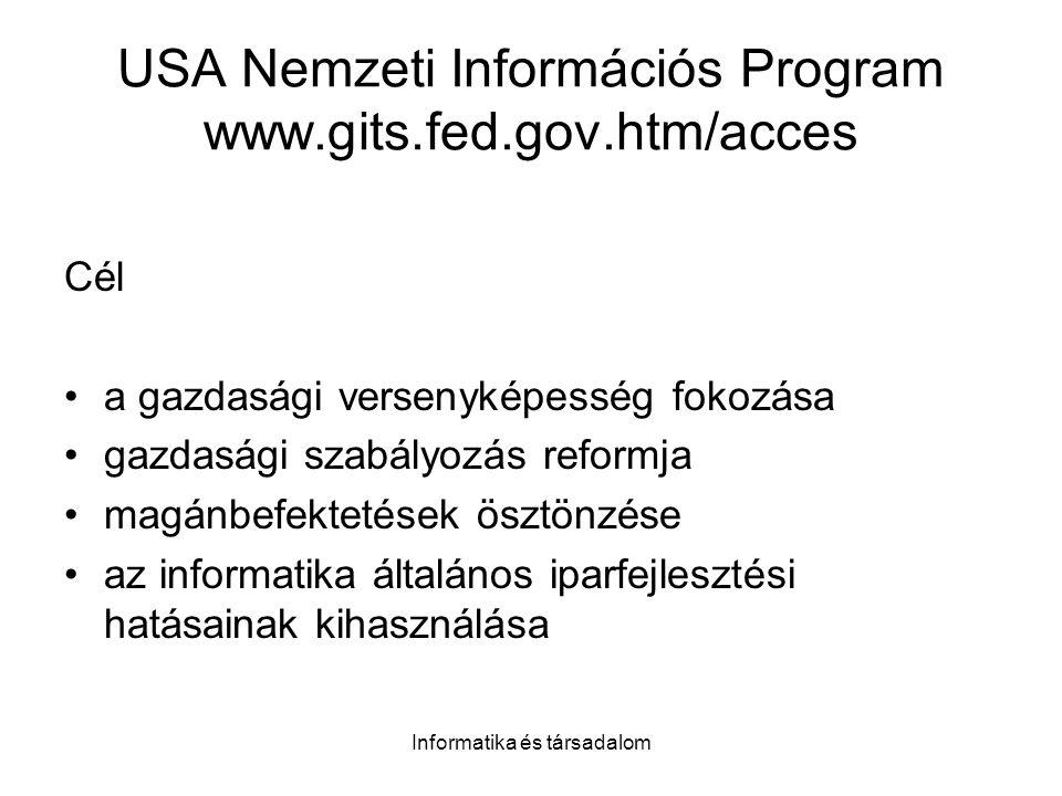 Informatika és társadalom USA Nemzeti Információs Program www.gits.fed.gov.htm/acces Cél a gazdasági versenyképesség fokozása gazdasági szabályozás reformja magánbefektetések ösztönzése az informatika általános iparfejlesztési hatásainak kihasználása