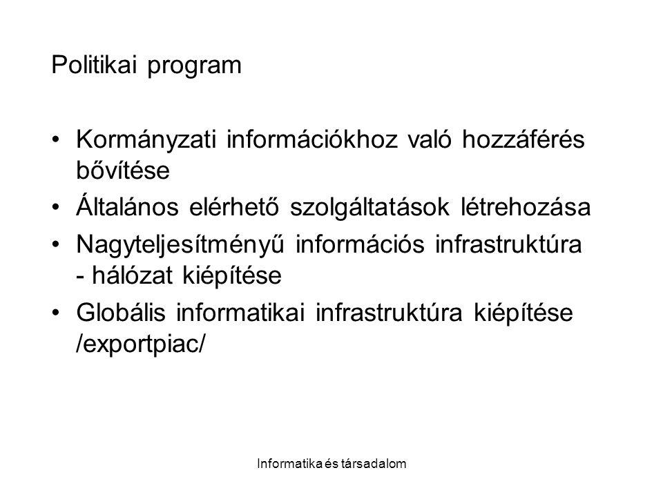 Informatika és társadalom Politikai program Kormányzati információkhoz való hozzáférés bővítése Általános elérhető szolgáltatások létrehozása Nagyteljesítményű információs infrastruktúra - hálózat kiépítése Globális informatikai infrastruktúra kiépítése /exportpiac/