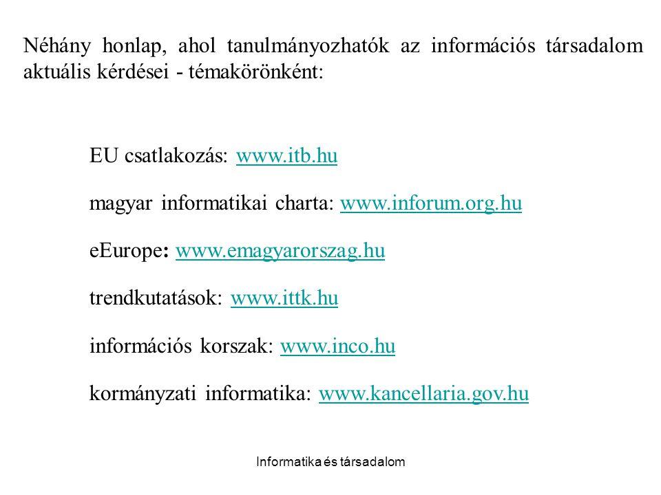 Informatika és társadalom Néhány honlap, ahol tanulmányozhatók az információs társadalom aktuális kérdései - témakörönként: EU csatlakozás: www.itb.hu