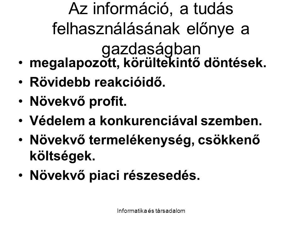 Informatika és társadalom Az információ, a tudás felhasználásának előnye a gazdaságban megalapozott, körültekintő döntések.