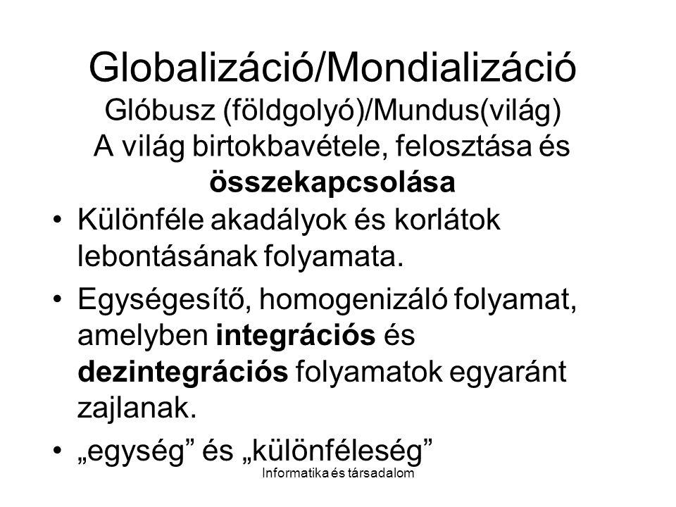 Informatika és társadalom Globalizáció/Mondializáció Glóbusz (földgolyó)/Mundus(világ) A világ birtokbavétele, felosztása és összekapcsolása Különféle akadályok és korlátok lebontásának folyamata.